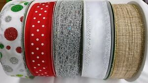 """2m Luxury Wire Edged Ribbons/ 38mm/1.5"""" /Gold/Glitter Dots/Silver/Blue/Red/Fairy"""
