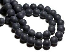 10pc - Perles de Pierre - Onyx Noir Mat Sablé Boules 10mm   4558550028396