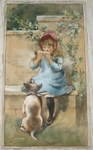 Antique Original YOUNG GIRL Comb Harmonica & DOG Victorian TRADE CARD PAINTING