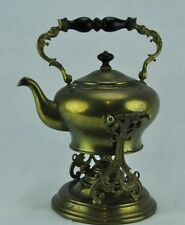 Antique solid brass tilting tea pot / cattle with burner . (BI#MK/BSM)