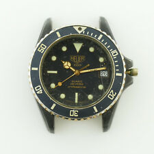 HEUER 1000 PROF BLACK DIAL BLACK PVD STAINLESS STEEL HEAD FOR PARTS OR REPAIRS