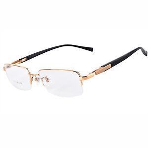100% Pure Titanium Men Half Rimless Optical Business Eyeglasses Frame Bifocal Rx