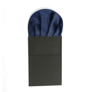 Men Solid Plain Satin Pre Folded Pocket Square Wedding Party Hanky Handkerchief