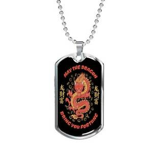 """Dragon Necklace Stainless Steel or 18k Gold Dog Tag 24"""""""