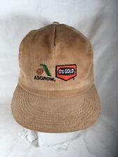 Asgrow O's Gold Hat Cap Snap Tan Corduroy Made Usa Seed Farmer Ag Corn Soybeans
