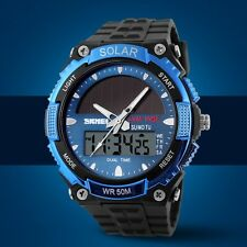 Skmei hombres Solar Power reloj deportivo LED Digital Analog impermeable militar