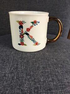 Opalhouse Floral Monogram Initial K Mug With Gold Handle NEW HTF