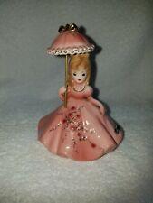 Vintage Beautiful Josef Originals Pink Heart Parasol Girl Figurine. Htf!