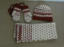 Jack Wills Hat, Scarf and Mittens Set - Red, Cream Nordic Knit