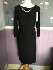 Roman Black Semi Fitted Evening Jersey Dress With Goldware Necklace 14