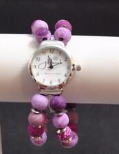 Jilzara Lilac Round Watch Polymer Clay Beads Handcrafted Artisan Jewelry Y1