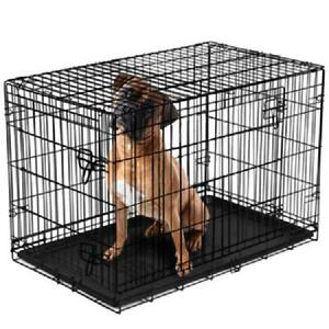 Dog Crate Kennel Folding Pet Cage 2 Doors XXL Metal Wire Tray Pan Multiple Sizes
