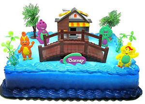 Barney Birthday Cake Topper Set Barney the Big Purple Dinosaur, Riff, Babby Bop