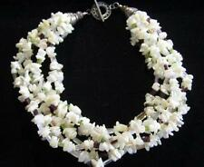 """Vintage 7 Strand Mother Of Pearl,Peridot,Garnet Bead 925 Necklace*195G*18""""*D39"""