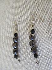 Handmade black beaded drop earrings - pierced ears