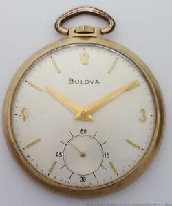 Vintage 1974 Bulova 17J Mens Open Face Pocket Watch to Fix