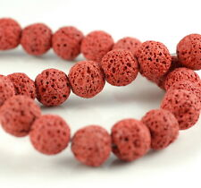 """12MM RED VOLCANIC BASALTIC LAVA GEMSTONE COPPER  ROUND 12MM LOOSE BEADS 16"""""""