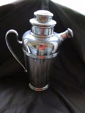 More details for cocktail shaker silver plated english 1920 art deco, retailed by harrods