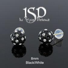 14k Yellow Gold 8mm Black White Austrian Crystal Disco Ball Studs Earrings