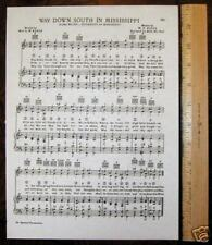 "UNIVERSITY OF MISSISSIPPI OLE MISS Original Vintage Song c1938 ""Way Down South"""