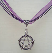 Large Pentagram Purple Ribbon and Cord Necklace - Wiccan Pagan Witch