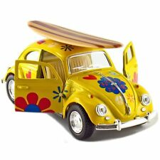 Kinsmart 1967 Volkswagen Beetle Decal w/Surfboard Diecast Model 1:32 VW YELLOW