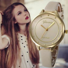 Ladies Fashion Geneva Platinum Quartz Gold Case Beige Dial Slim Band Wrist Watch