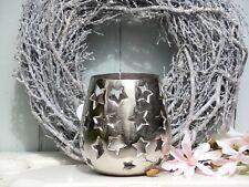Windlicht Laterne Sterne Bauchig Silber Deko Aluminium Teelichthalter D.15 H.17