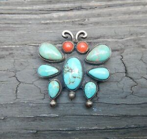 EXCEPTIONAL TURQUOISE, CORAL AND SILVER NAVAJO PIN - CALVIN MARTINEZ