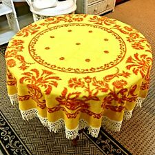 """Vintage 50"""" Round Tablecloth w/ Fringe Gold Red Urns Flowers Beach Towel Retro"""