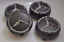 SET OF 4 PCS 75mm / 3 INCH AMG GREY WHEEL BADGE CENTER CAPS FOR AMG C E CLS S