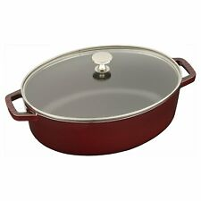 Staub in Grenadine New 4-qt Shallow Oval Cocotte Including Glass Lid