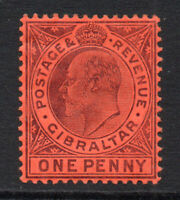 Gibraltar 1 Penny Stamp c1904-08 Mounted Mint Hinged (1771)