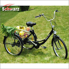 """Schwarz Dreirad für Erwachsene 24"""" Erwachsenendreirad Senioren Shopping Fahrrad"""