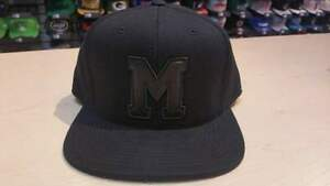 Mitchell & Ness NHL Montreal Maroons Logo Old School Blacked Out Fitted Hat Cap