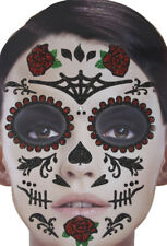 """Gesichts-Tattoo Set """"Lady Rose"""" Sticker - Day of the Dead Mottoparty Karneval"""