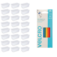 Sterilite 6 Qt Clear Storage (24 Pack) Bundled with VELCRO® Brand Ties (5 Pack)