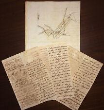 1848 Spanish Colonial Antilles ~ Colonia de Santo Domingo ~ Hand Drawn Map & Doc