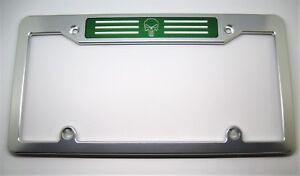 PUNISHER, Billet Aluminum License Plate Frame Clear Anodized, GREEN BADGE, TOP