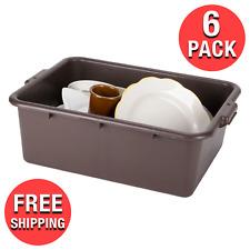 "(6-Pack) 22"" x15-3/4"" x 7"" Restaurant Bar Plastic Stackable Bus Tub Dish Bus Box"