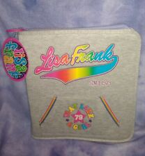 "Vintage Lisa Frank Rainbow Gray Jersey Zippered 3-Ring Binder ""Play Like a Girl"""