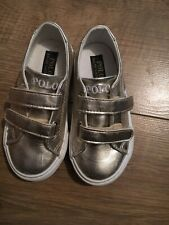 polo ralph lauren Childrens Easy Fastening Gold Pumps Uk Size 8 Us 8.5 EU 25 New