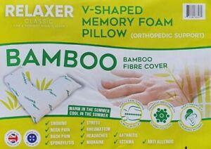 BAMBOO V Shape MEMORY FOAM Pillow Head Back Neck Body Support Orthopaedic