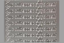 Aufkleber, Zur silbernen Hochzeit - silber- Starform 434