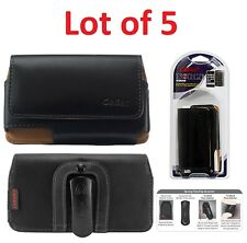 LOT OF 5 Cellet Black Leather Horizontal Noble Case Pouch For Apple iPhone 4 4S