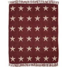 Burgundy Dark Tan Throw Blanket Country Classic Star Tassel Trim Woven Cotton