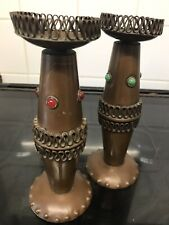 Arts And Crafts Copper Candlesticks treen gothic
