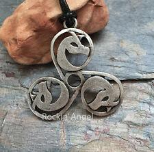 Argento anticato PLT Triscele Collana con pendente DRAGO Viking Norreno Celtica Regalo
