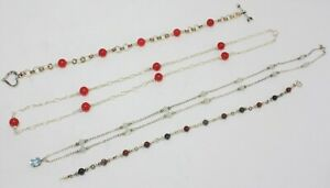 STERLING SILVER; 2 NECKLACES & 2 BRACELETS w/CHERRY QTZ, BLUE TOPAZ & AGATE
