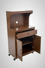 Kitchen Microwave Cart Rolling Stand Cabinets Storage Wood Shelves Walnut Doors